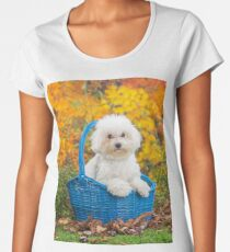 Cute white Bichon Frise puppy sitting in a basket Women's Premium T-Shirt