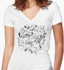 Fine Finches (linework) Women's Fitted V-Neck T-Shirt