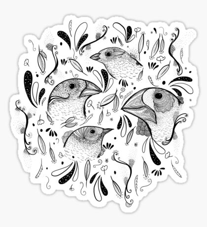 Fine Finches (linework) Sticker