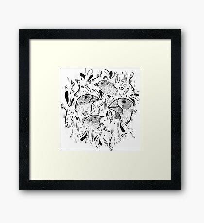 Fine Finches (linework) Framed Print