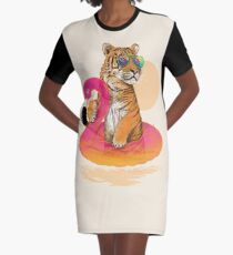 Chillin, Flamingo Tiger Graphic T-Shirt Dress