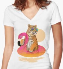 Chillin, Flamingo Tiger Women's Fitted V-Neck T-Shirt