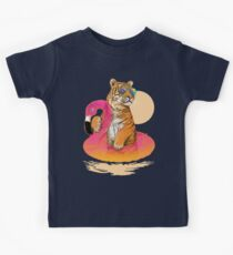 Chillin (Flamingo Tiger) Kids Tee