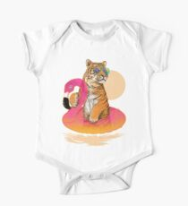 Chillin, Flamingo Tiger Short Sleeve Baby One-Piece