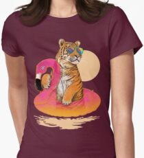 Chillin (Flamingo Tiger) Womens Fitted T-Shirt