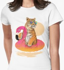 Chillin, Flamingo Tiger Women's Fitted T-Shirt