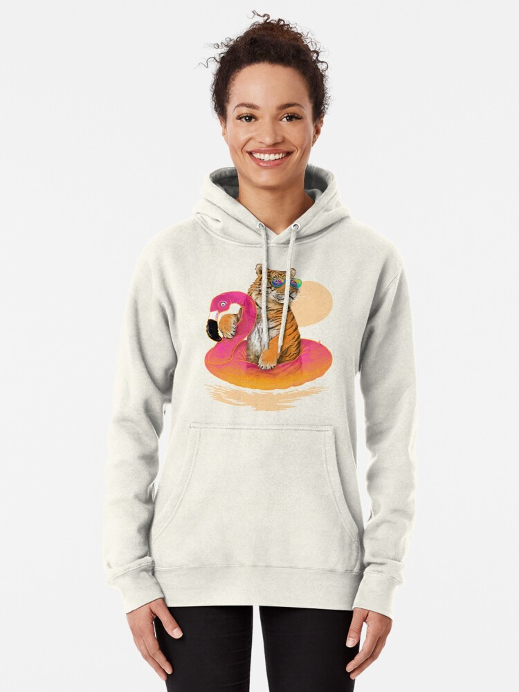 Alternate view of Chillin, Flamingo Tiger Pullover Hoodie