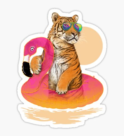 Chillin (Flamingo Tiger) Sticker