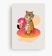 Chillin (Flamingo Tiger) Canvas Print