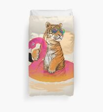 Chillin, Flamingo Tiger Duvet Cover