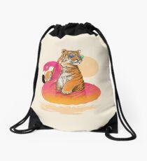 Chillin, Flamingo Tiger Drawstring Bag