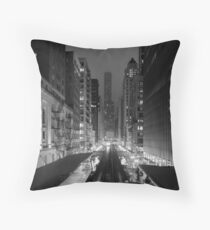 Chicago from the L Train Throw Pillow