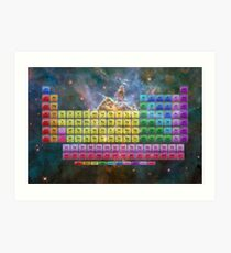 118 Element Color Periodic Table - Stars and Nebula Art Print