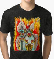 FLAMING CHURCH - Art By Kev G Tri-blend T-Shirt