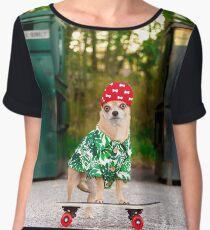Westminster Dog Show Drop Out - Skateboarding Chihuahua Dog Chiffon Top