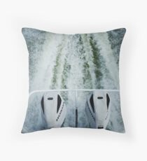 Twin Honda outboard motors with wake in the Coorong Throw Pillow
