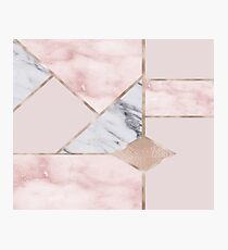 Geometric mix up - rose gold Photographic Print