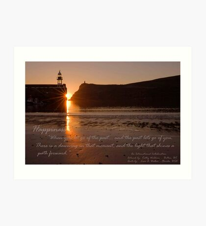 """""""Sunset over Port Erin Bay"""" An International Collaboration: Artwork by: KathyWaldron - Bolton, UK and Quote by: Leon A. Walker - Florida, USA Art Print"""