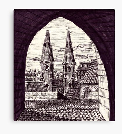 Europe. Black and white pen ink drawing Canvas Print