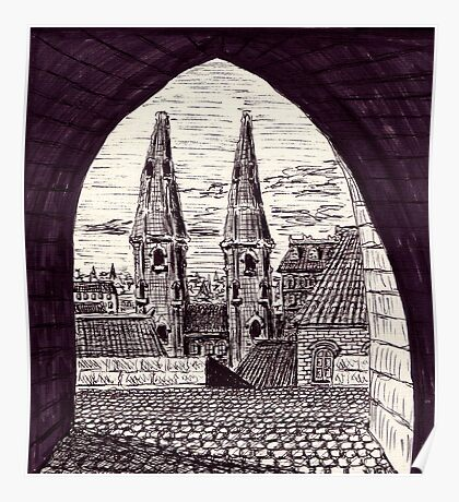 Europe. Black and white pen ink drawing Poster