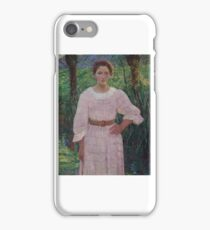 LILLA CABOT PERRY () BY THE BROOK, GIVERNY, FRANCE (WOMAN IN PINK DRESS) iPhone Case/Skin
