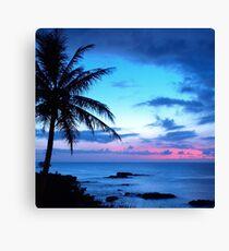 Tropical Island Pretty Pink Blue Sunset Landscape Canvas Print