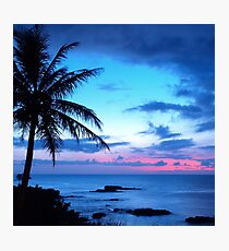 Lámina fotográfica Tropical Island Pretty Pink Blue Sunset Paisaje