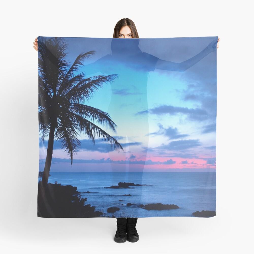 Tropical Island Pretty Pink Blue Sunset Paisaje Pañuelo