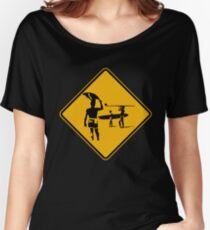 Caution sign. The endless summer surfing design. Women's Relaxed Fit T-Shirt