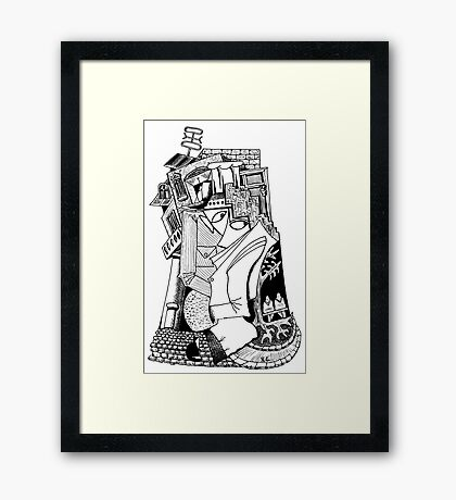 One day surreal black and white pen ink drawing Framed Print