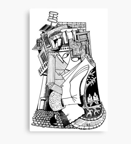 One day surreal black and white pen ink drawing Canvas Print