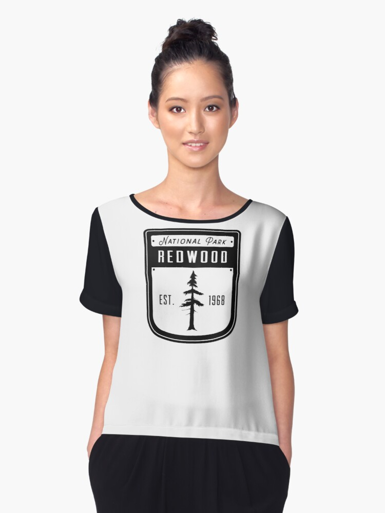 Redwood National Park California Badge Women's Chiffon Top Front