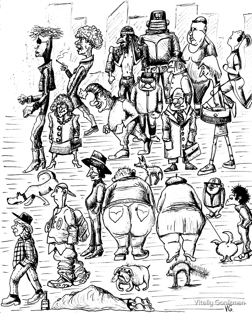 New York City people 1992 pen ink black and white drawing by Vitaliy Gonikman