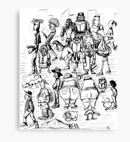 New York City people 1992 pen ink black and white drawing Canvas Print