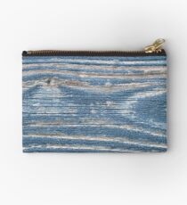Rustic weathered wood in blue Studio Pouch