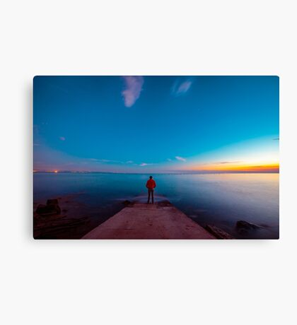 Sunset at the sea, Trieste Canvas Print