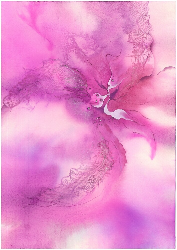 Lace Wings Abstract Watercolors by simplydesignart