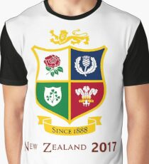 British Lions 2017 Zew Zealand Rugby Union Graphic T-Shirt