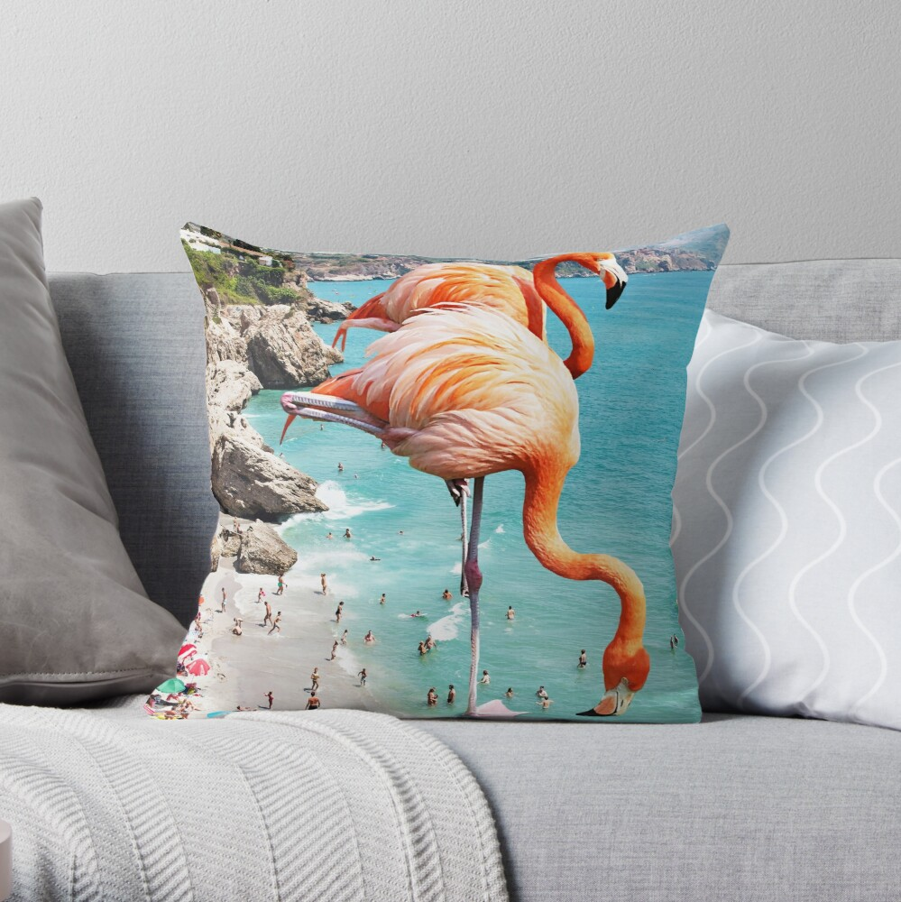 Flamingos on the Beach #redbubble #decor Throw Pillow