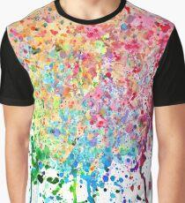 Rainbow Paint Splatter Drip Graphic T-Shirt