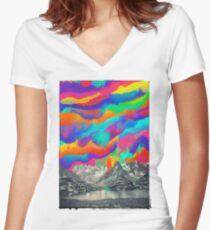 Skyfall, Melting Northern Lights Women's Fitted V-Neck T-Shirt