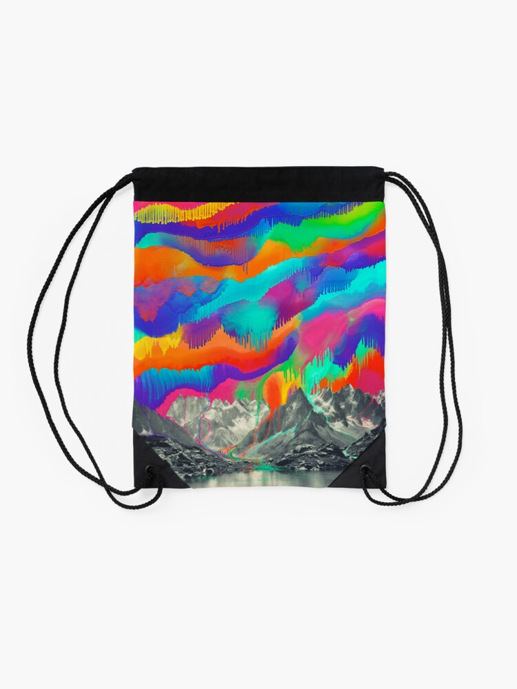 Alternate view of Skyfall, Melting Northern Lights Drawstring Bag