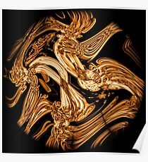 Black and Gold Recycled smoke Art Design Poster