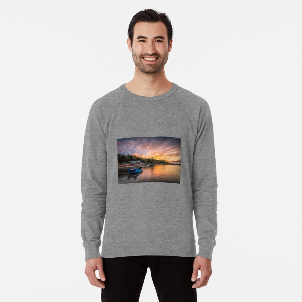 Woodside Bay Boat Sunset Lightweight Sweatshirt