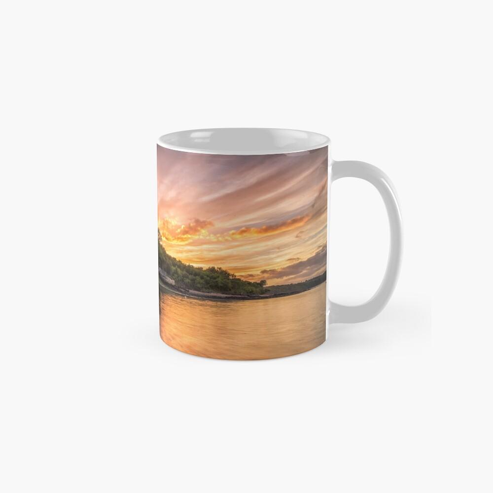 Woodside Bay Boat Sunset Mugs