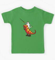 Unicorn Cat Riding Lightning T-Rex Kids Tee