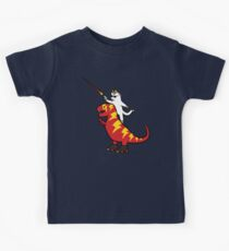 Unicorn Cat Riding Lightning T-Rex Kids Tee