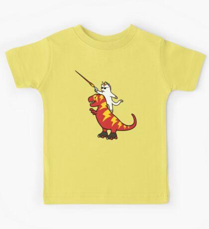 Unicorn Cat Riding Lightning T-Rex Kids Clothes