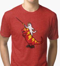 Unicorn Cat Riding Lightning T-Rex Tri-blend T-Shirt