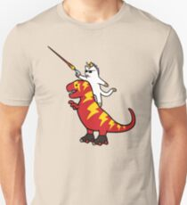 Unicorn Cat Riding Lightning T-Rex Unisex T-Shirt